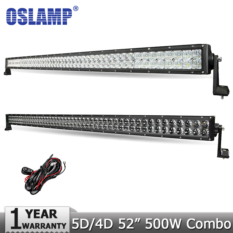 Oslamp 52 500W Offroad LED font b Light b font Bar CREE Chips 5D 4D Led