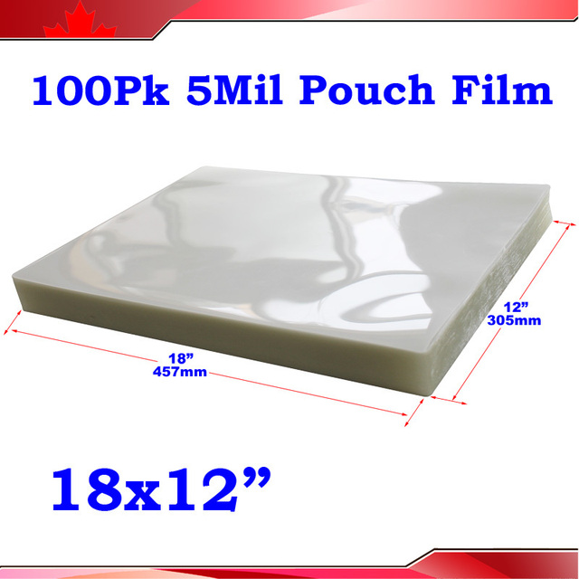 "Brand New 100 Sheets  5mil 12x18"" A3 Size PVC 2Flap Laminating Pouch Film for Hot Laminator"