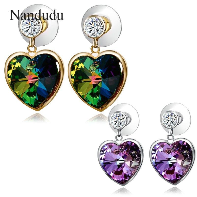 Nandudu Love Heart Olive Green/Purple Austrian Crystal Drop Earrings Dangle Dangle Earring Valentine Gift E907 E908