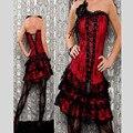 2016 Red sexy shapers rendas verde à noite mulheres sexy espartilho e bustier Plus Size Empurrar Para cima do espartilho Gótico vestido com saia