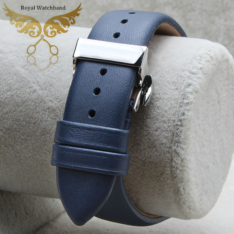 Promotion 20mm 22mm New High Quality Bule Smooth Genuine Leather Watch Band Strap Silver Butterfly Stainless Steel Buckle Clasp 20mm 22mm 24mm new soft smooth black high quality genuine leather watch band strap brushed steel clasp buckle for brand