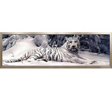 Diamond Embroidery 5D Diy Diamond Painting Cross Stitch White Tiger Round Diamond Mosaic Animals Home Paintings hobbies crafts(China)