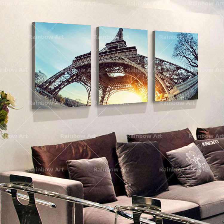 Online 3 Piece Canvas Wall Art Home Decoration Paris Eiffel Tower Building Pictures Paintings Prints Unframed Rb0023 Aliexpress Mobile