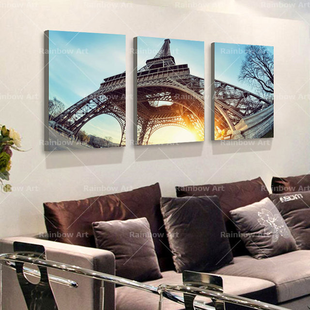 3 piece canvas wall art home decoration paris eiffel tower building wall pictures paintings canvas prints