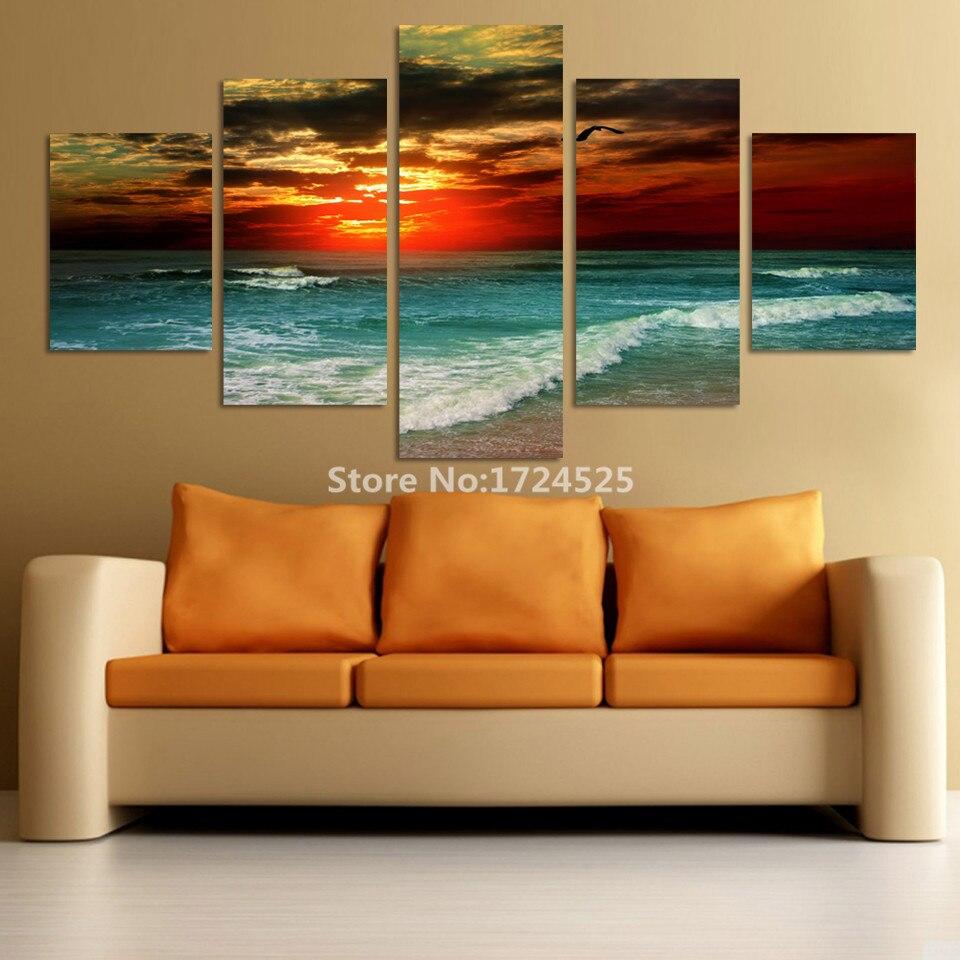 Ξ5 panel moderno impreso mar ola paisaje cuadro pintura cuadros arte ...