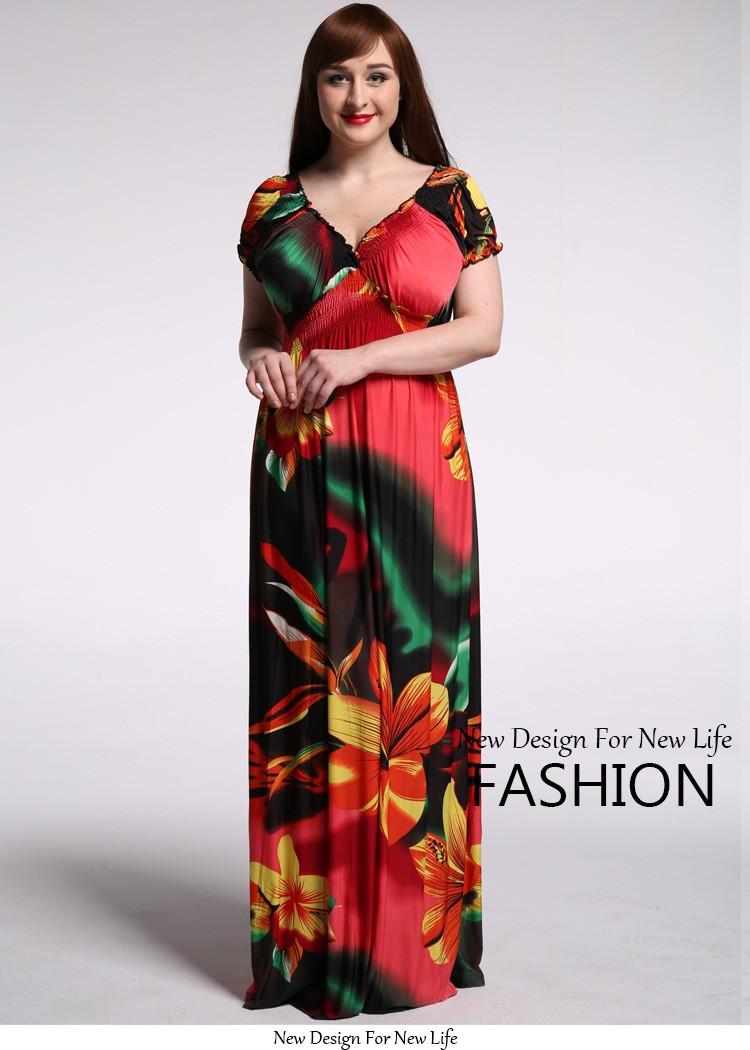 4b22c41a5b9 Plus Size 5XL 6XL 7XL Women Bohemian Floral Dress Ice Silk Maxi Dresses  Long Summer Women Dress 2016 robe sexy femme