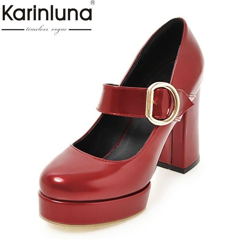 KARINLUNA Big Size 32-48 Women Mary Jane Shoes Vintage Thick High Heels Round Toe Platform Pumps Party Wedding Prom Footwear
