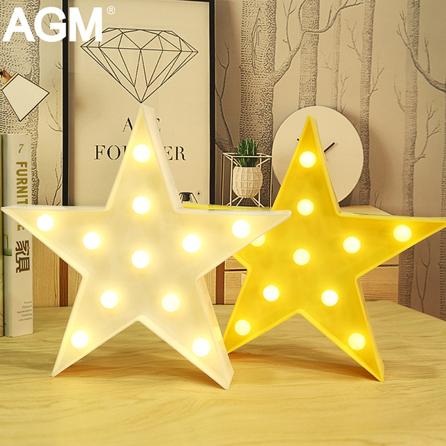 AGM 3D Stars Marquee Letters Light LED Night Light Ornaments Battery Desk Standing Lamp For Kid Gifts Bedroom Home Decoration