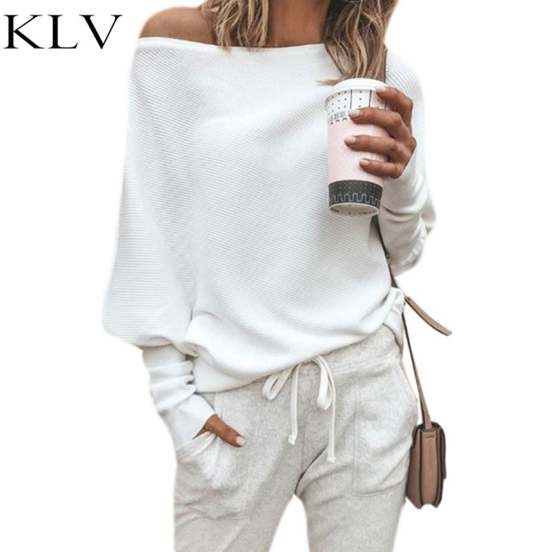 Women Autumn Spring Off Shoulder Long Batwing Sleeves Solid Color Ribbed Knitted Pullover Tops Loose Casual Knitwear Jumper