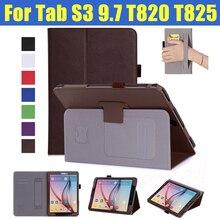 Для Samsung Galaxy Tab S3 9.7 T820 T825 tablet Откидная крышка case раскладной стенд Fundas защитная пленка shell с Карт памяти + ремень