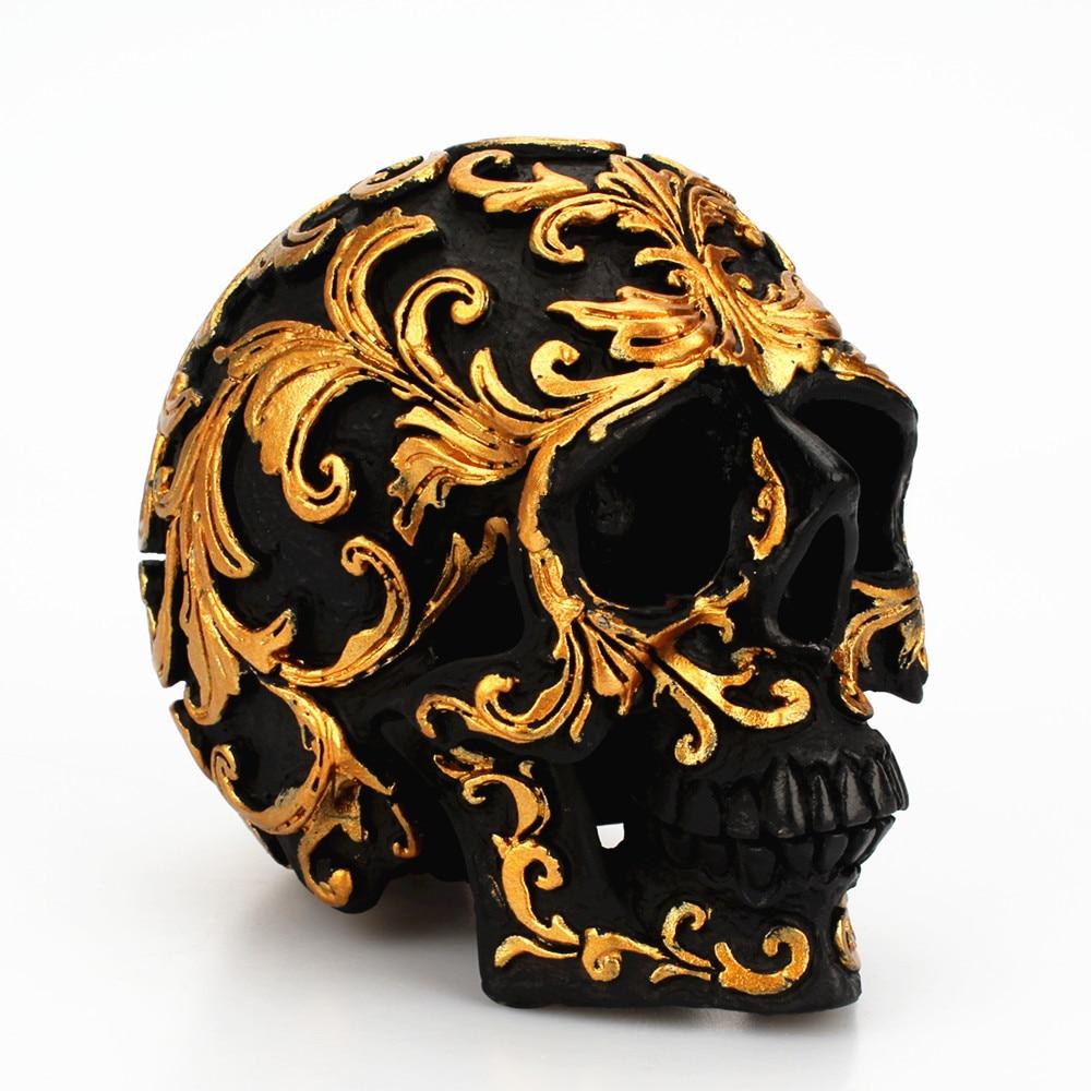 Vintage Resin Gold Pattern Skull Ornaments Figurines Halloween Skull Miniatures Decoration Crafts Home Decoration Accessories in Figurines Miniatures from Home Garden