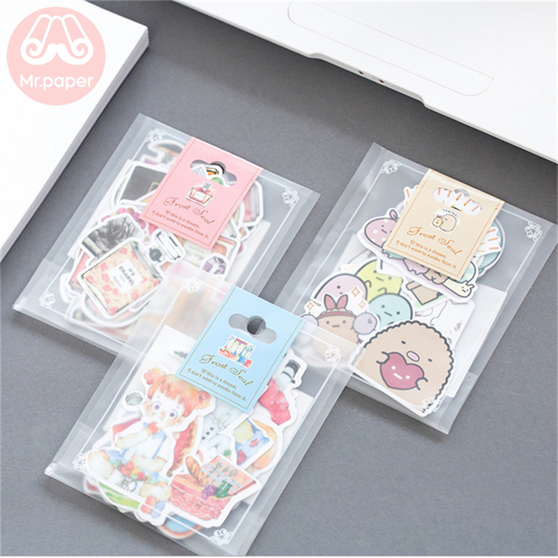 Mr.paper 21 Designs Popular Cute Cartoon Line Ins Deco Diary Stickers Scrapbooking Planner Decorative Stationery Stickers