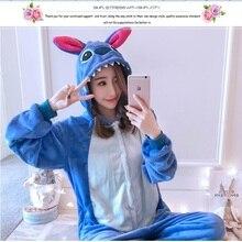 Kigurumi Onesie Cosplay Winter Wholesale Animal Blue and red Stitch Star Adult Unisex Hooded Sleepwear pajamas jumpsuit