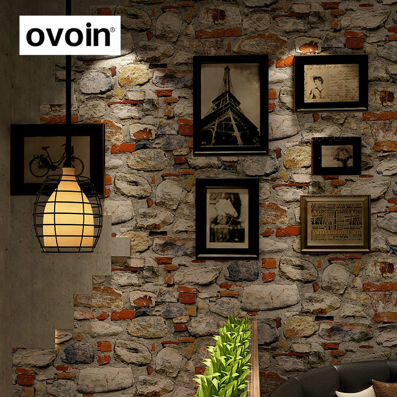 Vintage Rustic 3d stereo Stone Wall Paper Roll Restaurant coffee Shop Living Room Background Decor Vinyl PVC Wallpaper solid color linen pattern wall paper pvc waterproof modern bedroom living room restaurant hotel background decor wallpaper roll