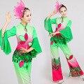 Chineses Trajes de Dança Clássica Roupas Performance de Palco Trajes de Dança Folclórica Yangko Dança Gradiente Verde