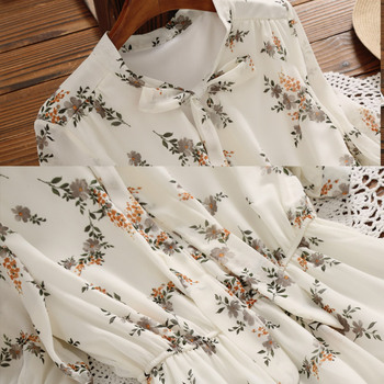 Mori Girl Sweet Dress 2020 New Summer Women Floral Print Long Chiffon Dress Female Short Sleeve Pleated Vestidos Korean Fashion 8