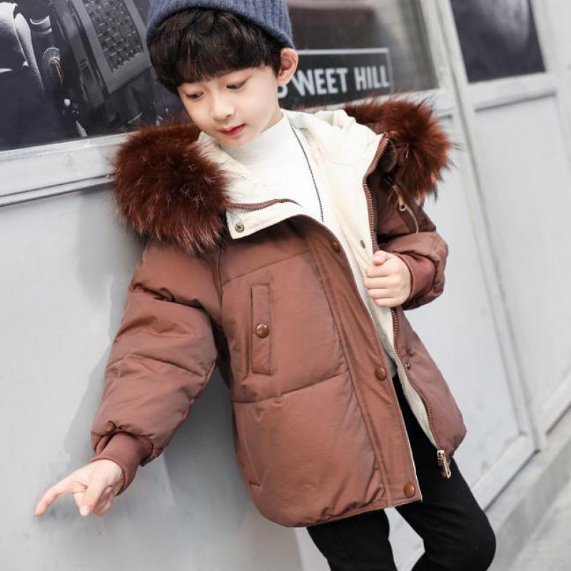 New Fashion Children Winter Jacket Boys Winter Coat Kids Warm Thick Collar Hooded Cotton Down Coats For Boys Christmas Costume winter boutique women pu leather down cotton jacket middle aged and elderly plus large size thick warm hooded collar thick coat