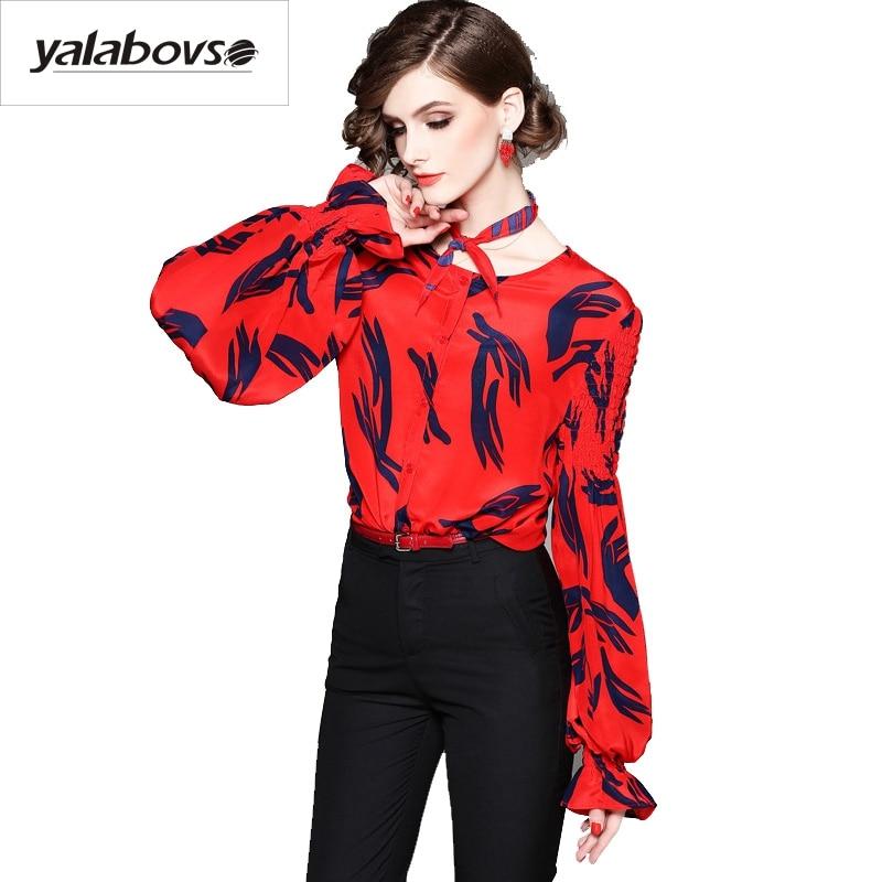 Élégant Chemise 100 Femelle Soie A18 Mode Printemps 2018 De Date Yalabovso Multi 80003z15 Lanterne T Haute Qualité shirts Manches Femmes Impression wxqPZT6B