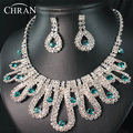 2016 Luxury Women Birdal Jewelry Silver Plated Rhinestone Necklace Earrings Sets Promotion Lucky Crystal  Wedding Jewelry Sets