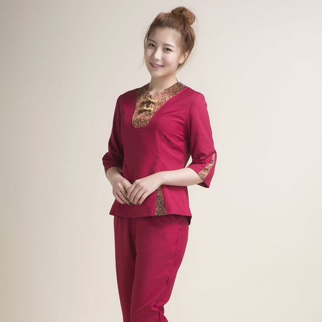 b6b29aab76 massage overalls short sleeved uniforms SPA overalls Beautician working  clothing tooling technician sauna costume