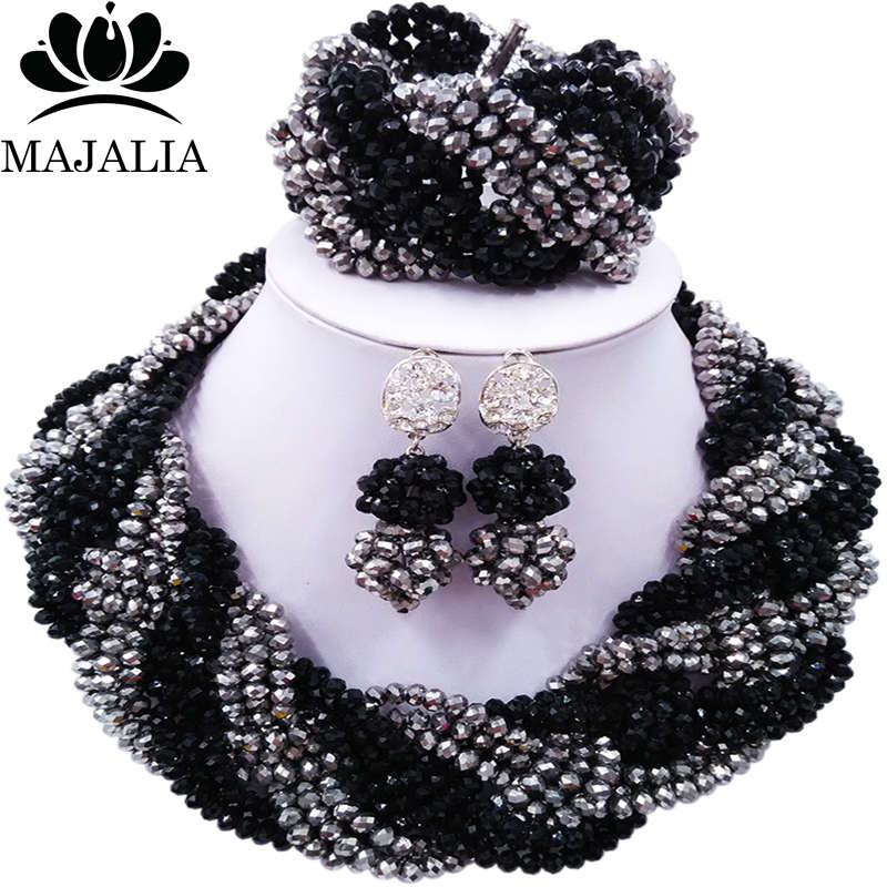 Majalia African Fashion Women Jewelry Set Black silver Nigerian Wedding Jewelry Beaded Sets 12CB007 majalia african fashion women jewelry set royal blue nigerian wedding jewelry beaded sets 12cb006