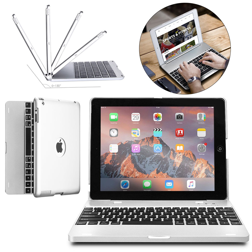 ABS Plastic Lightweight Wireless Bluetooth Keyboard 2800mAh Protect Case For Apple ipad 2/3/4