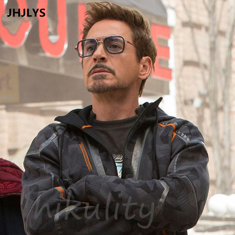 2019 Iron Man 3 SunglassesMen's Luxury Brand Square Sunglasses Tony Stark Matsuda Vintage Steampunk Glasses Black Lens UV400