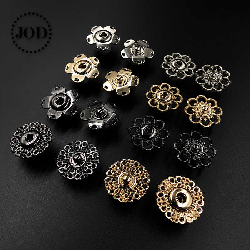 5 Pieces 18-30mm Gold Silver Black Metal Snap Buttons for Clothing Women Press Button Decorative Clothes Sewing Accessories JODa