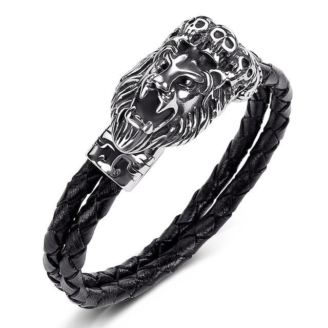 f686b1361ae86 New Men Bracelets Leo Lion Stainless Stee Black Leather Bracelet Skull Charm  Bangle Men Wristband Fashion