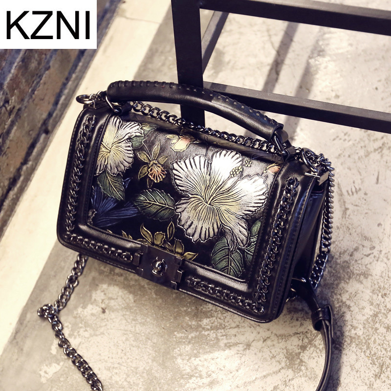 KZNI Genuine Leather Luxury Handbags Women Bags Designer Top-handle Bags Female Women Leather Handbags Summer Sac a Main 1896