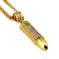 Mens Stainless Steel 24k Solid Gold Filled Military Style War Bullet Pendant 30 Long Cuban Curb