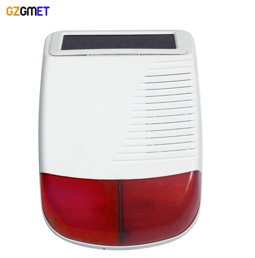 GZGMET solar panel powered rechargeable battery Wireless solar FLASH strobe siren  WITH 433MHZ