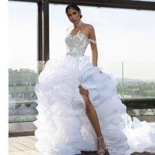 デザイナースプリット高値安値フリルウェディングドレスオーガンザティアビーチブライダルドレスプラスサイズvestidoデnoivaウェディングドレス