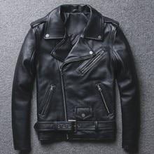 Мужская мотоциклетная куртка из натуральной кожи с поясом, двухслойная байкерская куртка с Диагональной молнией, Панк модное короткое пальто из натуральной кожи