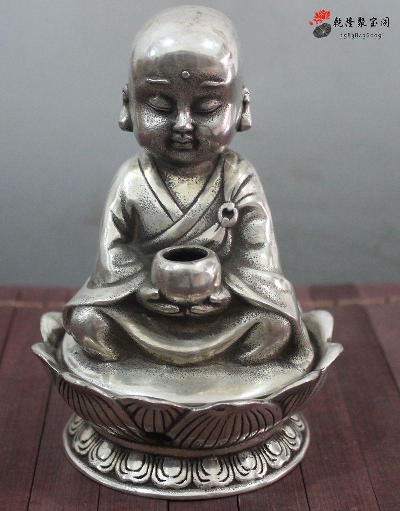 Chino plata cobre monje budista boddha estatua de Estatuas decoracion