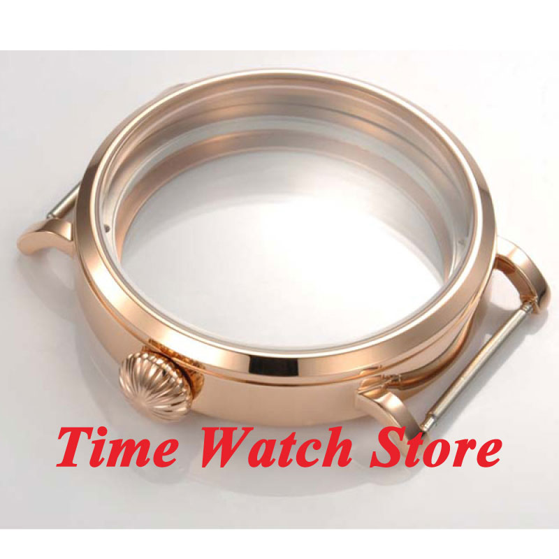 Parnis 46mm Fit 6497 6498 movement rose golden stainless steel Watch Case C21 цена и фото