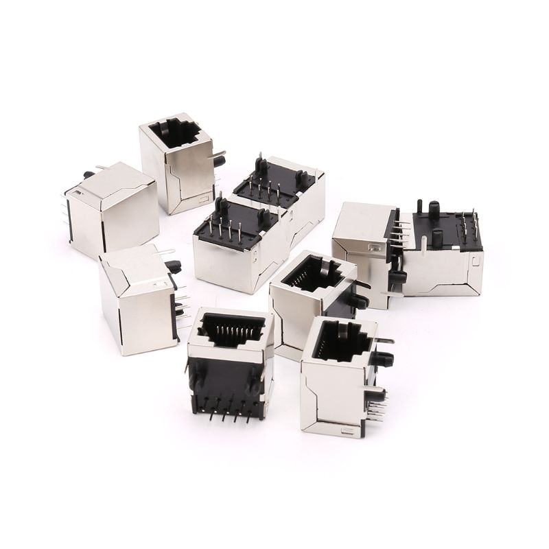 10Pcs/Set 8P8C RJ45 Connectors Single Port 8Pin PCB Mount Female Socket Connector For Ethernet Network