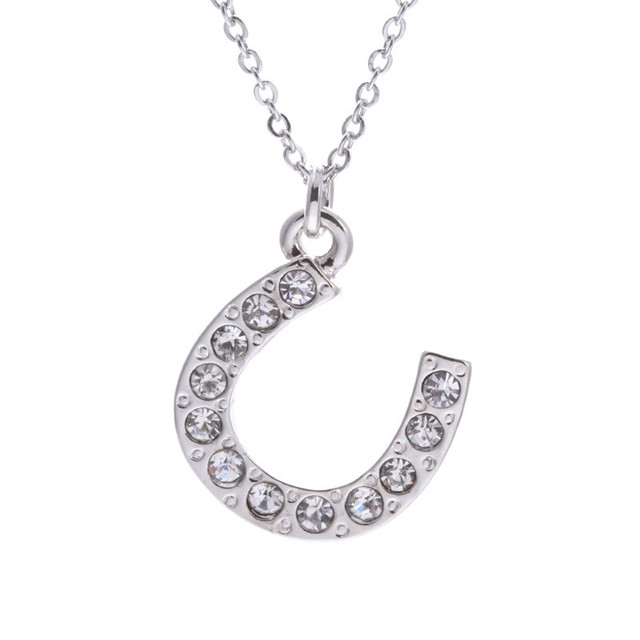 Shining Silver Necklace Clear Rhinestone Horse Shoe Charm Necklace New  Design Elegant Crystal Necklace for Women 914e8a2f415d