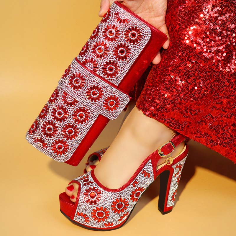 African Wedding Italian Shoe and Bag Sets Red Color Italian Shoes and Bags To Match Shoes with Bag Set Decorated with Rhinestone