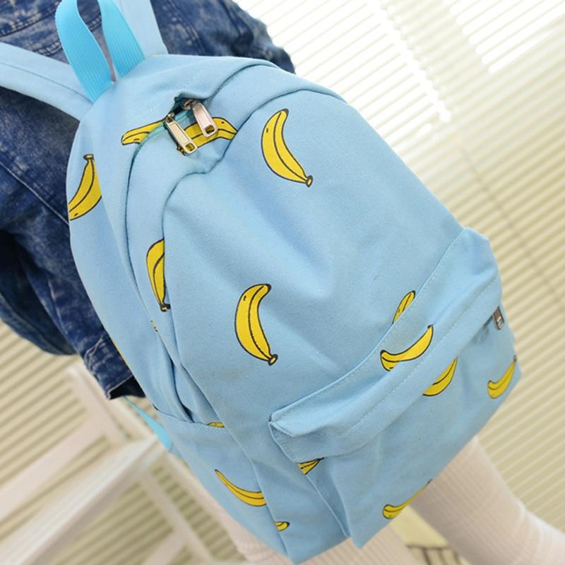 50pcs / lot 새로운 귀여운 여자 바나나 인쇄 여자 배낭 여행 Pratical 학교 가방 십 대 소녀에 대 한 독특한 패션 캔버스 배낭