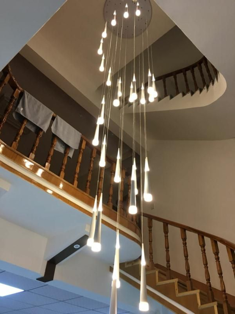 Современные длинные светодио дный светодиодные конусные подвесные светильники для лестничного салона 3,5-1,5 м спиральные лестничные огни ле...