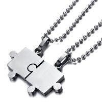 Couple Pendant Necklace Men Women S 2PCS Stainless Steel Pendant Necklace Silver Jigsaw Puzzle Valentine Adjustable