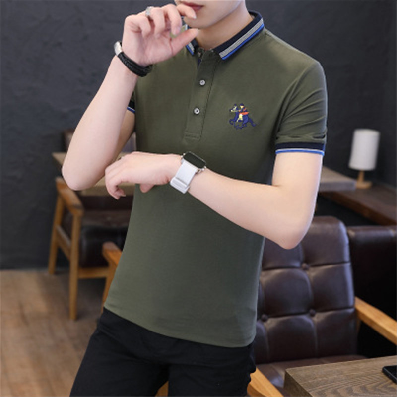 Men Polo Shirts 2018 New Summer Fashion Half Sleeve Embroidery Horse Breathable Camisa Masculina Cotton Polo Mens Plus Size 4XL 6