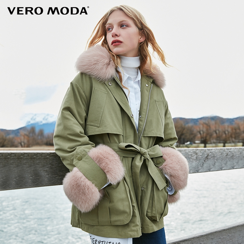 Vero Moda new fox fur collar detachable liner down jacket | 318423507