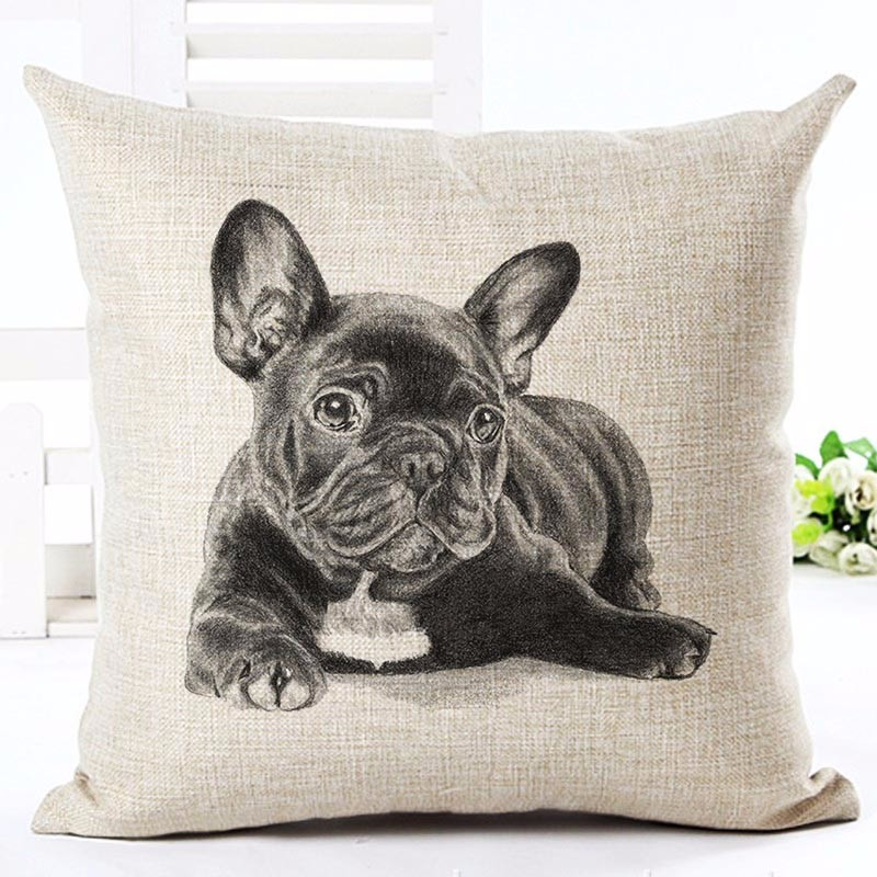 home decorative pillow car sofa bull terrier dog cushion throw pillow case french bulldog fundas almofadas