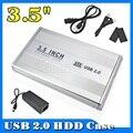 2015 Venta Caliente de 3.5 pulgadas USB 2.0 SATA HDD Externo HD Caja para Disco Duro Caso Cubierta de la Caja de Color Plata