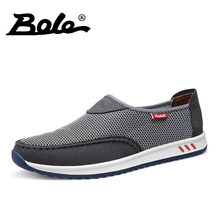 BOLE Fashion Design Mesh Shoes 2017 Summer Casual Men Shoes Breathable Shoes Man Slip on Flats For Man Loafers Plus Size 37-45
