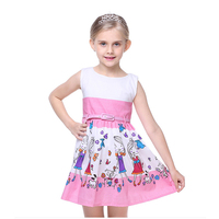 BRWCF New Brand Summer Dress For Girls European And American Casual Style With Cartoon Print Dresses