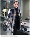 Высокое качество европейский известный бренд шотландка три четверти женские зимнее пальто свободного покроя широкий длинные дамы плед шерстяные куртки