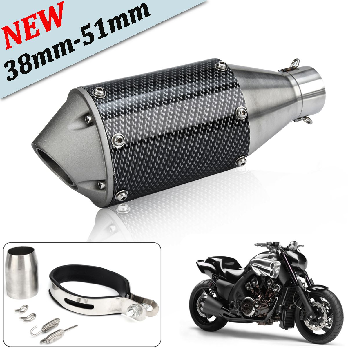 Autoleader 38-51mm Universal Carbon Fiber Motorcycle Exhaust Muffler Pipe For Dirt Bike ATV laser mark motorcycle modified muffler sc carbon fiber exhaust pipe for ducati xdiavel s streetfighter s 1100s 1092 848